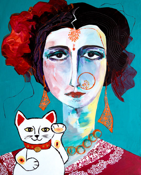 La danseuse de Bharatanatyam au maneki-neko. - Painting,  50x40 cm ©2016 by Véronique Piaser-Moyen -                                                            Contemporary painting, Canvas, Portraits, piaser, piaser-moyen, veronique piaser-moyen, inde, danseuse, bharatanatyam, maneki-neko, chat