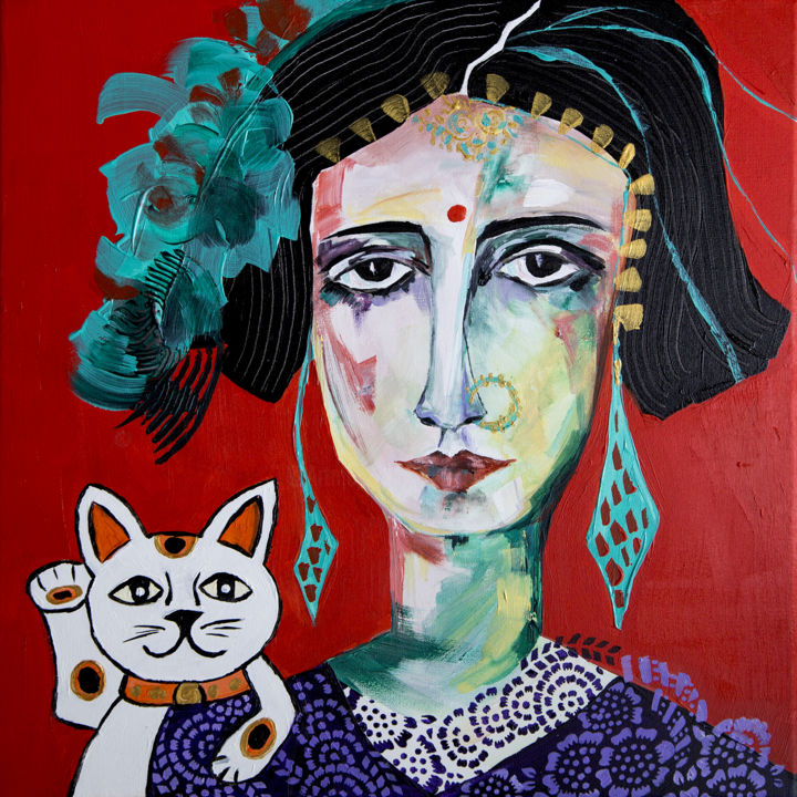 Danseuse au maneki-neko - Painting,  40x40 cm ©2016 by Véronique Piaser-Moyen -                                                            Contemporary painting, Canvas, Portraits, veronique piaser-moyen, piaser, piaser-moyen, portrait, art singulier, femme, inde, chat, maneki neko