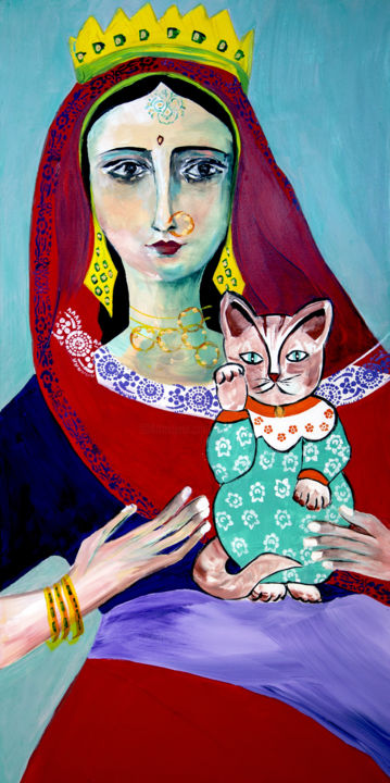 La madone gypsy au chat - Painting,  80x40 cm ©2016 by Véronique Piaser-Moyen -                                                            Contemporary painting, Canvas, Portraits, piaser, piaser-moyen, veronique piaser-moyen, portrait, madone, gypsy, inde, femme, chat, art singulier