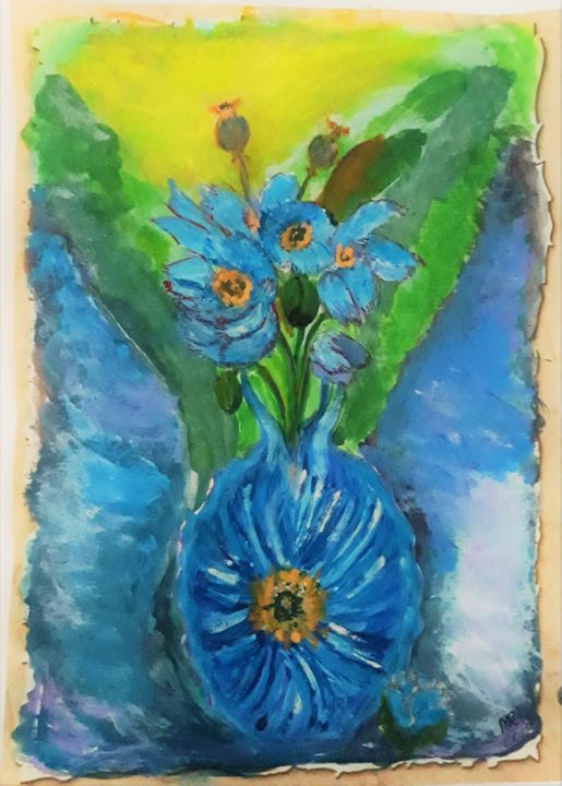 Abstract.Blue flowers. - Drawing,  30x21 cm ©2019 by Marie Ruda -                                                                    Abstract Expressionism, Art Deco, Modernism, Flower, flowers, abstract, blue, blume, aquarelle, watercolor, paper