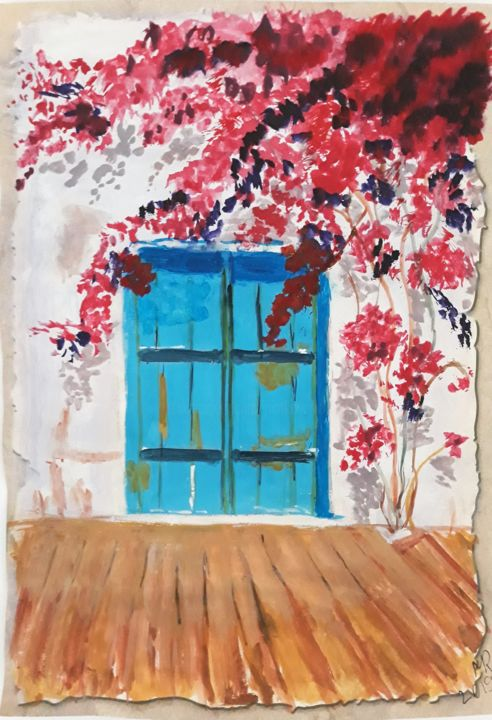 In the yard. - Drawing,  30x21 cm ©2019 by Marie Ruda -                                                                    Modernism, Contemporary painting, Architecture, Tree, yard, flowers, home
