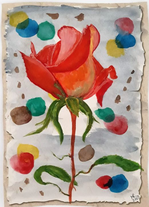 Not lonely. - Drawing,  30x21 cm ©2019 by Marie Ruda -                                                                    Art Deco, Minimalism, Modernism, Flower, flower, watercolor, aquarelle, paper, rose