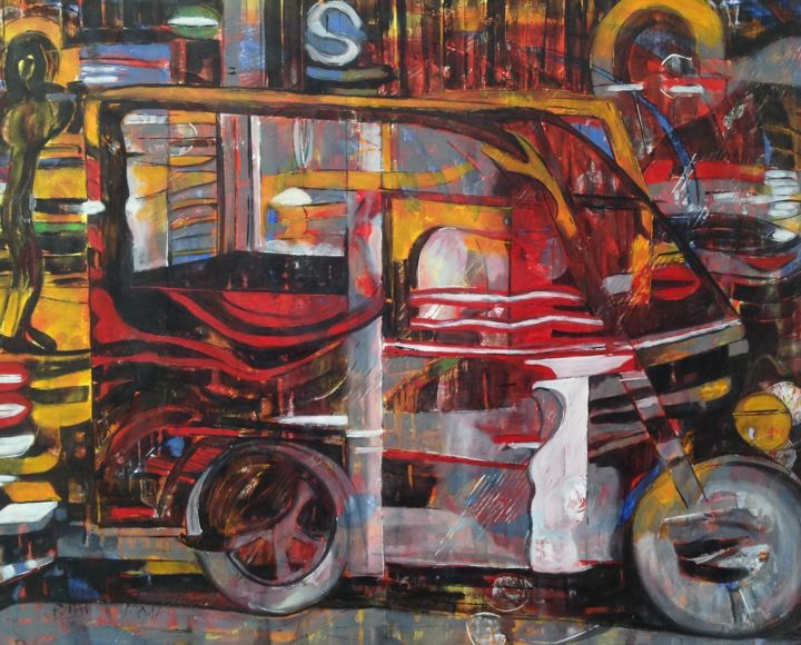 Beijing's Vitality - san lun che - Painting,  85x105x2.2 cm ©2017 by Barbara Piatti -                                                                                    Expressionism, Canvas, Performing Arts, Transportation, Cities, tuk tuk, san lun che, Three wheels, Pékin, transport, rapidity, city, chine, asia