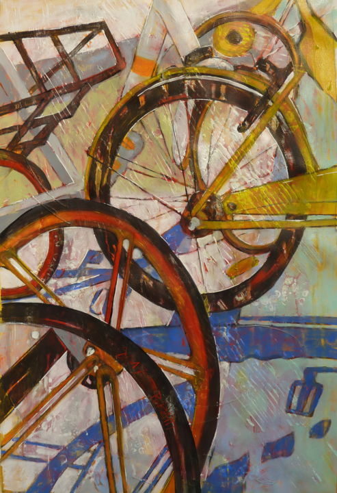 Roue Libre - Painting,  61x38x2 cm ©2017 by Barbara Piatti -                                                                                    Expressionism, Canvas, Culture, Transportation, Cities, bicycles, city, Pékin, life, freedom, liberty, roue