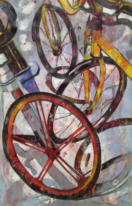 Roue Maîtresse - ©  bicycles, transport, freedom, liberty, coloré, jaune, Pékin, fresh air, anti pollution Online Artworks