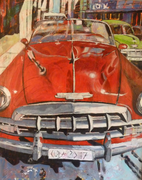"""CUBA 2017"" - Painting,  39.4x31.5x1.8 in, ©2017 by Barbara Piatti -                                                                                                                                                                                                                                                                                                                                                                                                                                                                                                                                                                                                                                                                                                                                                                          Expressionism, expressionism-591, Transportation, Cities, Car, voiture, oldtimer, american, Havane, Cuba, ville, transport, rouler, rouge, Barbara Piatti, V8"