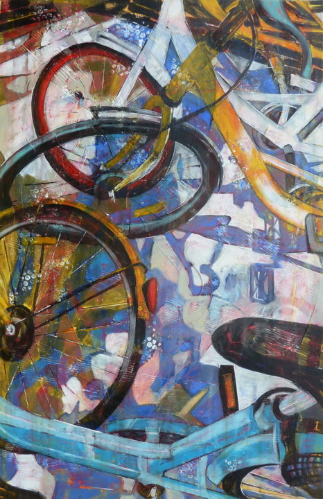 """SP 95, SP 98, Diesel & Kérosene"" - Painting,  92x60x2 cm ©2017 by Barbara Piatti -                                                                                                Expressionism, Canvas, World Culture, Sports, Transportation, Cities, bicycles, sport, velo, beijing, chine, bleu, movement, vert, city, life"