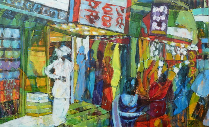 """Man in white"" - Painting,  51x82x2 cm ©2018 by Barbara Piatti -                                                                        Expressionism, Canvas, World Culture, Cities, Varanasi, Banaras, Inde, Barbara Piatti, shopping, bazaar, sari, tissu, soie, coloré"