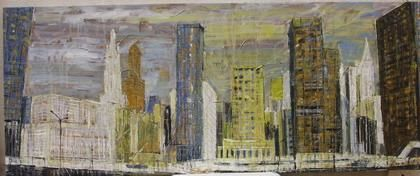 Ground Zero - Painting,  23.6x59.1x1 in, ©2005 by Barbara Piatti -                                                                                                                                                                                                                                                                                                                                                                                                                                                                                                                                                                                                                                                                                                                                                                          Expressionism, expressionism-591, Architecture, Cityscape, Colors, World Culture, Ground Zero, New York, Manhattan, Barbara Piatti, urbain, big apple, building, vue exceptionnel, no twin towers, financial district