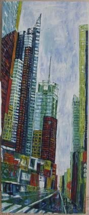 7th Avenue - Painting,  59.1x23.6x1 in, ©2005 by Barbara Piatti -                                                                                                                                                                                                                                                                                                                                                                                                                                                                                                                                                                                          Expressionism, expressionism-591, Architecture, Colors, World Culture, Cityscape, 7th Avenue New York, Manhattan, Barbara Piatti, Chelsea, vue de rue, street perspective