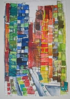 26 th Street - Painting,  27.6x19.7x0.4 in, ©2005 by Barbara Piatti -                                                                                                                                                                                                                                                                                                                                                                                                                                                                                                                                                                                                                                                                                                                              Expressionism, expressionism-591, Architecture, Colors, World Culture, Cityscape, New York, Manhattan, Chelsea, building, rue, Barbara Piatti, libre, construction, view