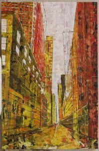 Madison Avenue II - Painting,  36.2x23.6x0.8 in, ©2006 by Barbara Piatti -                                                                                                                                                                                                                                                                                                                                                                                                                                                                                                                                                                                                                                                                                                                              Expressionism, expressionism-591, Architecture, Colors, World Culture, Cityscape, Madison Avenue, New York, Manhattan, coloré, Barbara Piatti, vue de rue, perspective, buildings, point de fuite
