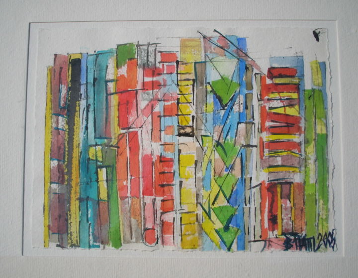Midtown - Painting,  15.8x19.7x0.4 in, ©2005 by Barbara Piatti -                                                                                                                                                                                                                                                                                                                                                                                                                                                                                                                                                                                                                                                                                  Expressionism, expressionism-591, Architecture, Colors, World Culture, Cityscape, midtown, new york, manhattan, coloré, Barbara Piatti, architecture, libre, amusant
