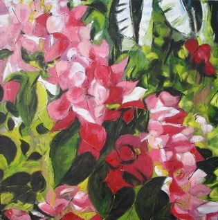 Big red fall - Painting,  39.4x39.4x1 in, ©2006 by Barbara Piatti -                                                                                                                                                                                                                                                                                                                                                                                                                                                                                                                                                                                                                                                                                                                                                                                                                      Expressionism, expressionism-591, Botanic, Colors, Pop Culture / celebrity, Nature, Still life, Fleurs, bougainvillier, rouge, rose, philippines, Barbara Piatti, vert, tropical, nature, sauvage
