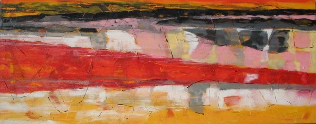 Bip Bip Road Runner - Painting,  23.6x59.1 in, ©2007 by Barbara Piatti -                                                                                                                                                                          Expressionism, expressionism-591, Paysage de mer