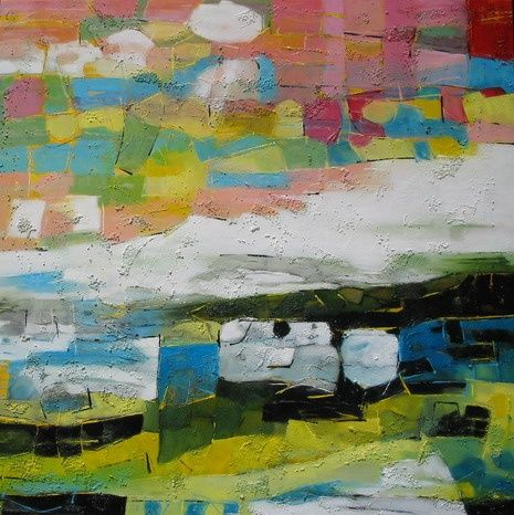 Now you Can See - Painting,  39.4x39.4 in ©2008 by Barbara Piatti -                                            Expressionism, Seascape, Paysage de mer, horizon, mer, île, terre, coloré, eau, ciel, Barbara Piatti, Philippines