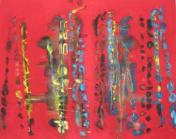 Red Jazz - Peinture,  28,7x36,2x1 in, ©2007 par Barbara Piatti -                                                                                                                                                                                                                                                                                                                                                                                                                                                                                                                                              Abstract, abstract-570, Cultures du monde, Musique, red, instruments, musique, saxophone, trombone, clarinette, jazz