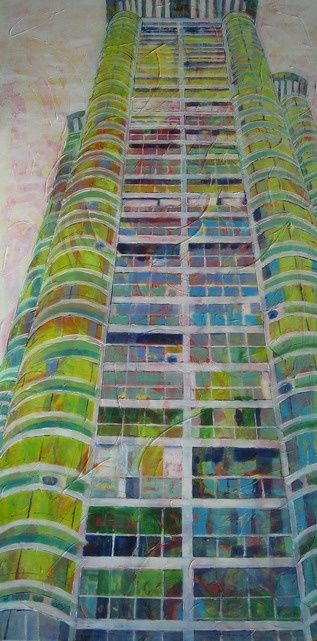 Booster - Painting,  63x31.5 in ©2009 by Barbara Piatti -                            Contemporary painting, Famous building in Shanghai, architecture, building, Shanghai, famous, blue, green