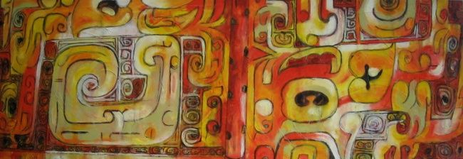 Oméga - Painting,  27.6x78.7x2 in, ©2009 by Barbara Piatti -                                                                                                                                                                          Abstract, abstract-570, Ancient chinese vase