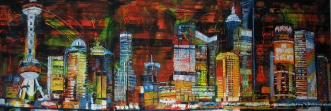 Belle de Nuit - Peinture,  27,6x78,7x2 in, ©2009 par Barbara Piatti -                                                                                                                                                                                                                      Abstract, abstract-570, Pudong, Shanghai by night