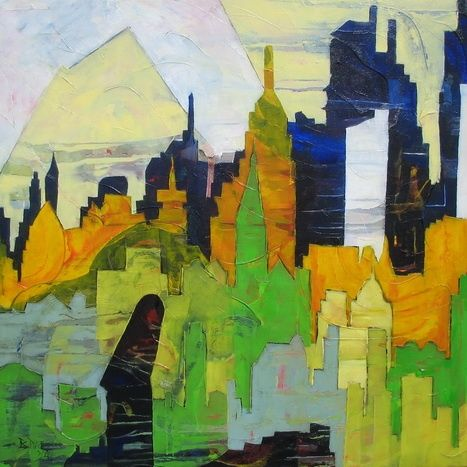 """""""Yellow Eye"""" - Painting,  39.4x39.4x1 in, ©2010 by Barbara Piatti -                                                                                                                                                                                                                                                                                                                                                                                                                                                                                                                                                                                                                                                                                  Abstract, abstract-570, Architecture, Cities, New York, Manhattan, Architecture, contours, imeubles, americain, coloré, bleu, vert, jaune"""
