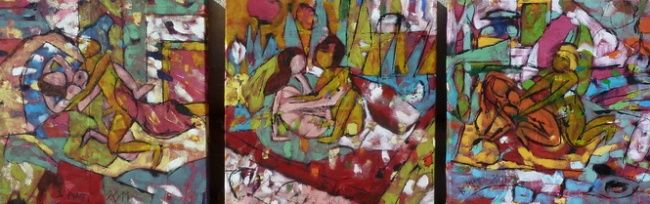 Trois chambres, Triptyque - Painting,  13.8x41.3 in, ©2011 by Barbara Piatti -                                                                                                                                                                                                                                                                                          Kamasutra, lovepositions, soft, colourful, erotic, sex