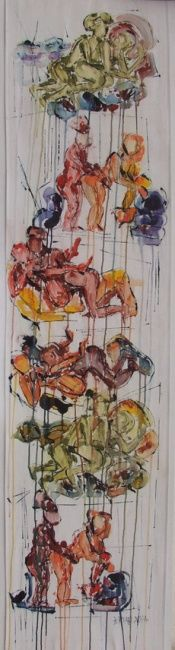 Concierge - Painting,  35x150 cm ©2004 by Barbara Piatti -            Kamasutra, lovepositions, softly sex, colurful