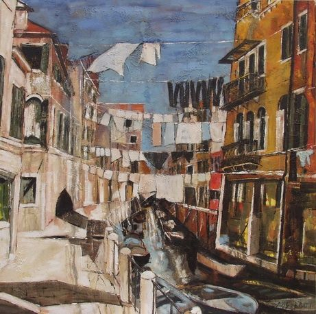 Sèche-linge - Painting,  39.4x39.4x1 in, ©2005 by Barbara Piatti -                                                                                                                                                                                                                                                                                                                                                                                                                                                                                                                                                                                                                                                                                                                                                                          Expressionism, expressionism-591, Architecture, Colors, World Culture, Cityscape, Scene in Venise, drying clothes in between houses, architecture, Barbara Piatti, seche-linge, vetements, accroché, coloré, Venice, streetlife