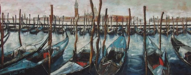 Blue Park - Painting,  23.6x59.1x1 in, ©2004 by Barbara Piatti -                                                                                                                                                                                                                                                                                                                                                                                                                                                                                                                                                                                                                                                                                  Expressionism, expressionism-591, Architecture, Colors, World Culture, Seascape, empty parked gondoles in Venise in the background Place San Marco, nice atmosphere, Venice, parking gondoles, blue, Barbara Piatti, coloré, view