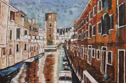 """Pontalonnade"" - Painting,  38.2x57.5x1 in, ©2005 by Barbara Piatti -                                                                                                                                                                                                                                                                                                                                                                                                                                                                                                                                                                                                                                                                                  Expressionism, expressionism-591, Architecture, Colors, World Culture, Cityscape, clothes hanging over little canal in Venise for drying in the warm wind, Barbara Piatti, Venice, seche-linge, vetements, pantalon, coloré, atmosphere"