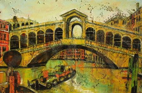 Business Bridge - Painting,  23.6x36.2x0.8 in, ©2005 by Barbara Piatti -                                                                                                                                                                                                                                                                                                                                                                                                                                                                                                                                                                                                                                                                                                                                                                          Expressionism, expressionism-591, Architecture, Colors, World Culture, Landscape, Cityscape, Very famous place in Venise, little souvenir shops on the bridge, always very busy, Venice, Barbara Piatti, coloré, jaune, business, rialto