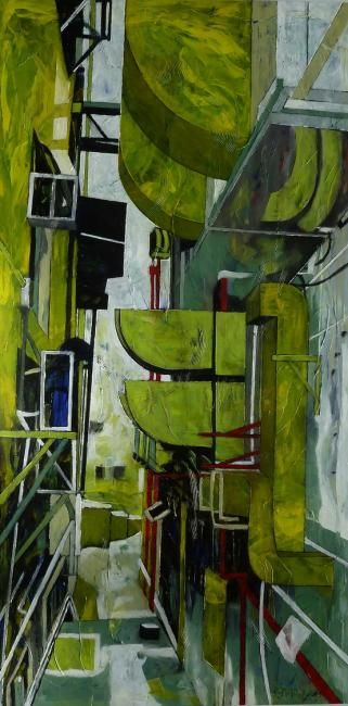 Back Stage - Painting,  63x31.5x2 in, ©2012 by Barbara Piatti -                                                                                                                                                                                                                                                                                                                                      Hong Kong Island, back side, buildings, architecture, green, black, grey