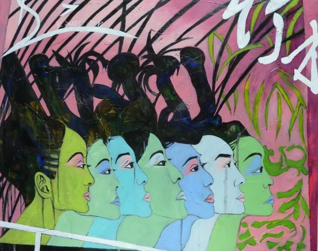 Sex Machines - Painting,  31.5x39.4x1.2 in, ©2012 by Barbara Piatti -                                                                                                                                                                                                                                                                                                                                                                                                                                                                                                                                                                                                                  Asia, World Culture, People, Symbol of shopping city, Kowloon, Hong Kong Island, personages, coiffure, visages, violet, blanc, femmes, chinoises