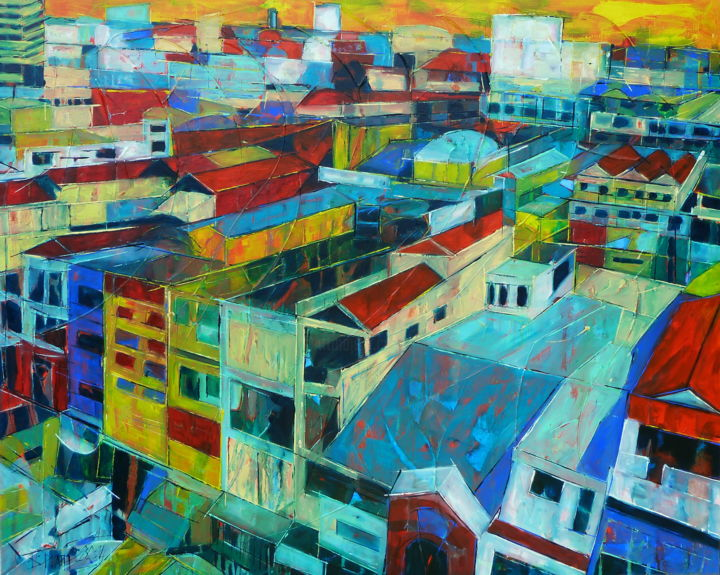 Living containers - Painting,  31.5x39.4x0.8 in, ©2014 by Barbara Piatti -                                                                                                                                                                                                                                                                                                                                                                                                                                                                                                                                                                                          Expressionism, expressionism-591, Architecture, Cities, asiatique, ville, bleu, coloré, Cambodge, Phnom Penh, rouge, vue