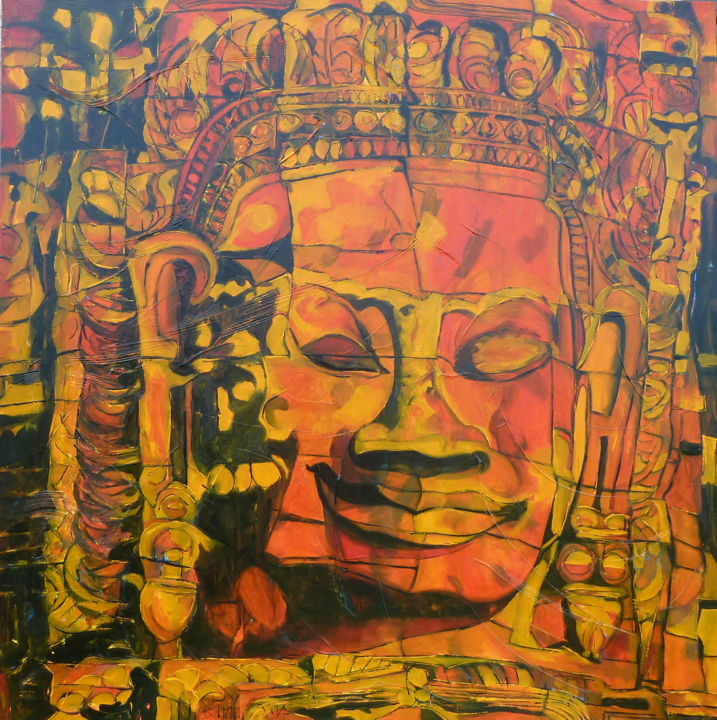 John le Rouge - Painting,  39.4x39.4x0.8 in, ©2014 by Barbara Piatti -                                                                                                                                                                                                                                                                                                                                                                                                                                                                                                                                                                                          Expressionism, expressionism-591, Architecture, Portraits, rouge, orange, visage, portrait, bouddhiste, méditatif, Angkor, Cambodge