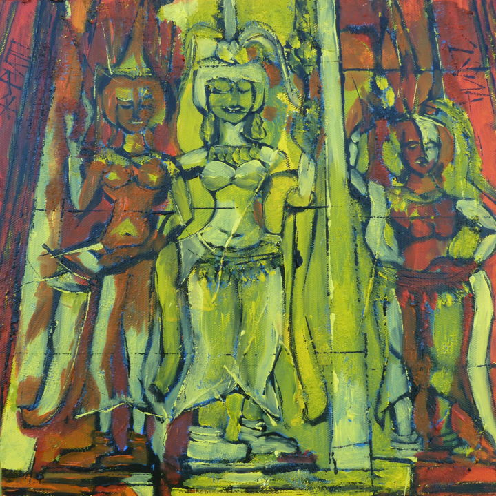 Les filles de Ta Keo - Painting,  11.8x11.8x2 in, ©2014 by Barbara Piatti -                                                                                                                                                                                                                                                                                                                                                                                                                                                                                                                                              Expressionism, expressionism-591, Performing Arts, World Culture, rouge, jaune, danseuses, Apsaras, culture, Angkor, Cambodge