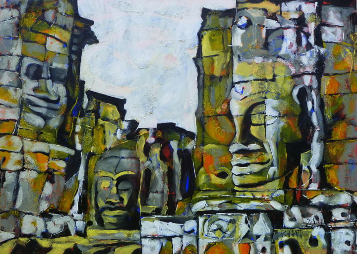 Manifestation - Painting,  19.7x27.6x1.2 in, ©2014 by Barbara Piatti -                                                                                                                                                                                                                                                                                                                                                                                                                                                                                                                                                                                                                                      Expressionism, expressionism-591, Architecture, World Culture, Portraits, culture, visages, jaune, blanc, noir, architecture, Angkor, Cambodge