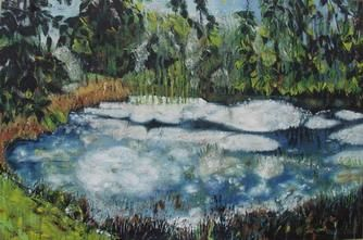 Malacots jungle - Painting,  38.2x57.5x1 in, ©2004 by Barbara Piatti -                                                                                                                                                                                                                                                                                                                                                                                                                                                                                                                                                                                                                                                                                                                                                                          Expressionism, expressionism-591, Performing Arts, Colors, Nature, Landscape, sologne, Barbara Piatti, Loirevalley, paysage, petite mare, aquatique, vert, bleu, blanche, en fleurs