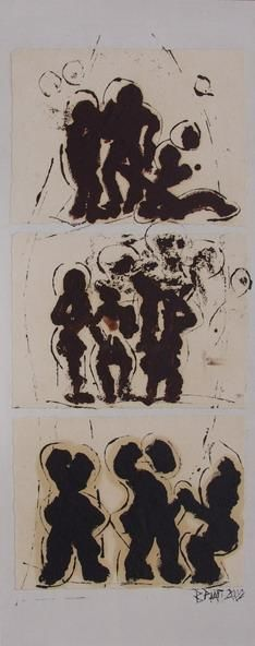 Gould-Diesel-Poomerang - Painting,  39.4x15.8x1.2 in, ©2002 by Barbara Piatti -                                                                                                                                                                                                                                                                                                                                                                                                                                                                                                                                                                                          Expressionism, expressionism-591, Performing Arts, Culture, Humor, People, dialogue, communication, figures, Barbara Piatti, noir&blanc, Barrico