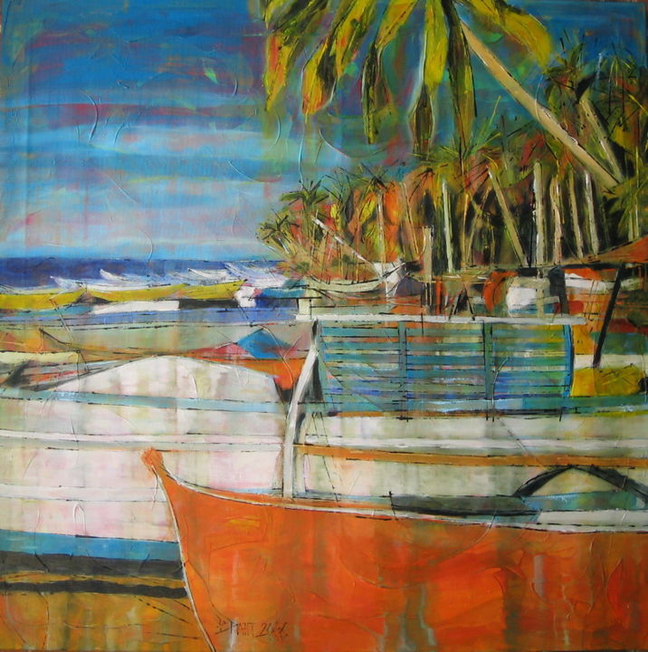 Orange Fisherboat - Painting,  39.4x0.8x39.4 in, ©2006 by Barbara Piatti -                                                                                                                                                      Paysage, tropical, fisherboats