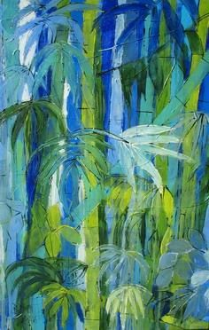No emerald sex - Painting,  36.2x23.6 in, ©2006 by Barbara Piatti -                                                                                                                                                                                                  Bambous, bleu, forest, tropical