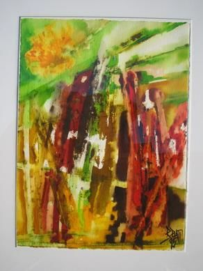Esprit Bamboo - Painting,  21.3x17.3x0.4 in, ©2006 by Barbara Piatti -                                                                                                                                                                                                                                                                                                                                                                                                                                                                                                                                                                                                                                                                                  Expressionism, expressionism-591, Performing Arts, Colors, Nature, Landscape, exotique, bambous forest, Barbara Piatti, coloré, tropical, Inde, Philippines, asie