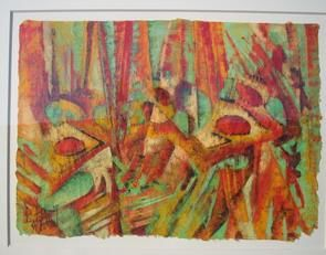 Tropical Song - Painting,  29.5x37x0.8 in, ©1993 by Barbara Piatti -                                                                                                                                                                                                                                                                                                                                                                                                                                                                                                                                                                                                                                                                                                                              Abstract, abstract-570, Performing Arts, Men, Nature, Landscape, tropical, song, Barbara Piatti, forest, pluie, rainy season, coloré, chaud, Philippines