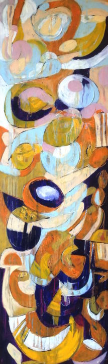 Conversion - Painting,  53.9x15.8x1.6 in, ©2015 by Barbara Piatti -                                                                                                                                                                                                                                                                                                                                                                                                                                                                                                  Abstract, abstract-570, Architecture, sophia, Istanbul, lieu sacré, orange, violet, oraganic, architecture