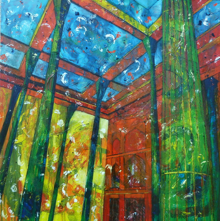 The Artist's Palace - Peinture,  31,5x31,5x1,8 in, ©2015 par Barbara Piatti -                                                                                                                                                                                                                                                                                                                                                                                                                                                                                                                                              Expressionism, expressionism-591, Architecture, rouge, vert, bleu, palace, Esfahan, Iran, culture perse, amour
