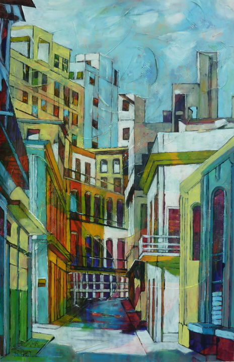 It was my Havana street - Painting,  36.2x23.6x1 in ©2016 by Barbara Piatti -                                                        Expressionism, Architecture, Cities, Havana, Cuba, architecture, street life, city, colorful