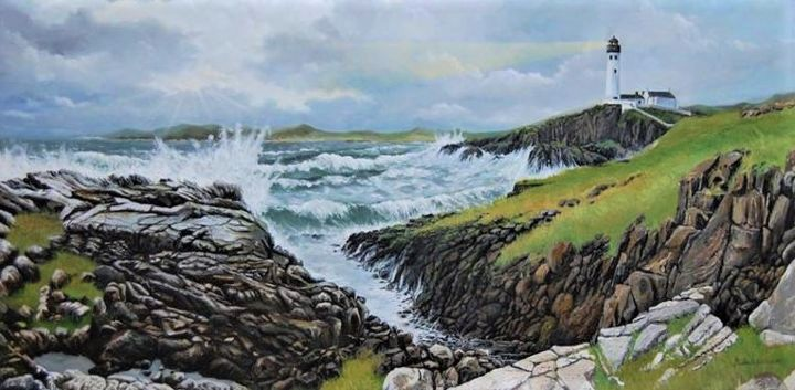 """Painting titled """"""""O Farol de Fanad H…"""" by Piedade Pina, Original Art, Oil Mounted on Wood Panel"""