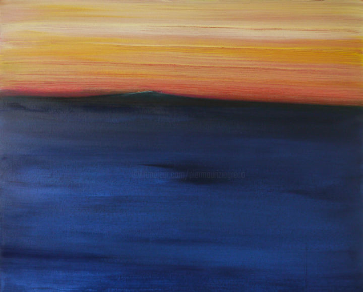 conosco un posto - Painting,  80x100x3.5 cm ©2017 by Pier Maurizio Greco -                                                                                Abstract Art, Land Art, Water, Abstract Art, Seascape, arte contemporanea