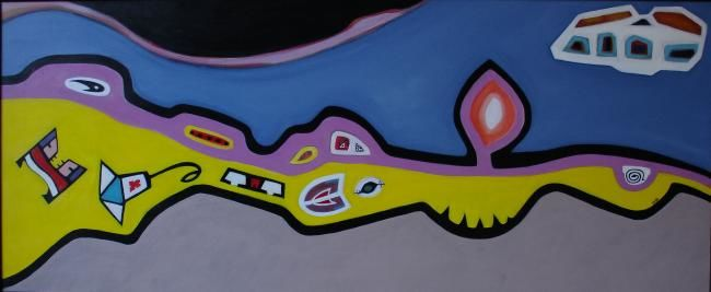 territorio - Painting,  19.7x47.2 in, ©2004 by Pier Maurizio Greco -