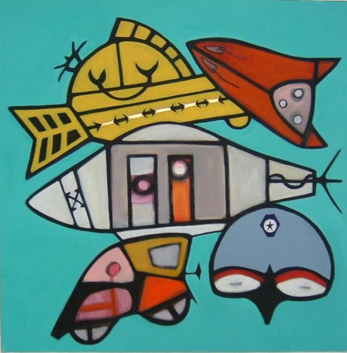 toys - Painting,  60x60 cm ©2004 by Pier Maurizio Greco -